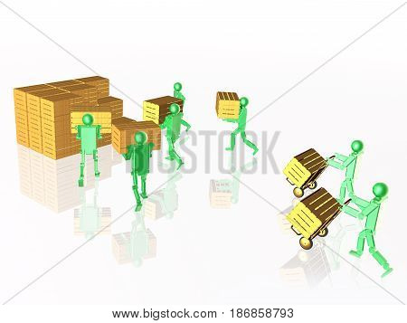 Green robots with casegoods on white reflective background 3D illustration.