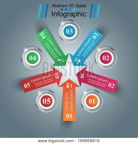 Infographic design template and marketing icons. Arrows logo.