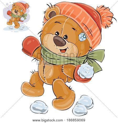 Vector illustration of a brown teddy bear throws a snowball. Print, template, design element