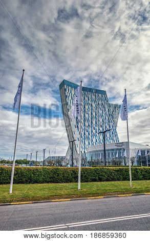 COPENHAGEN, DENMARK - MAY 6, 2017: The 4-star AC Bella Sky Marriott Hotel near Bella Center between the Orestad and Bella metro stations in Copenhagen. Comwell Conference Center. Orestad district.