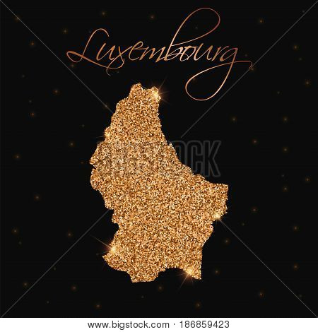 Luxembourg Map Filled With Golden Glitter. Luxurious Design Element, Vector Illustration.
