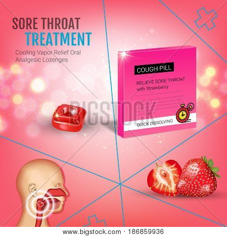 Cough Drops ads. Vector 3d Illustration with strawberry pills for throat. Poster with product's package.
