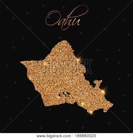 Oahu Map Filled With Golden Glitter. Luxurious Design Element, Vector Illustration.