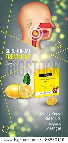 Cough Drops ads. Vector 3d Illustration with lemon pills for throat. Vertical banner with product's package.