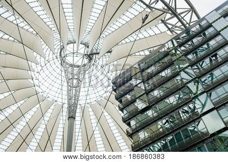 BErlin Germany - may 16 2017: Building detail of the Sony Center at Potsdamer Platz in Berlin Germany