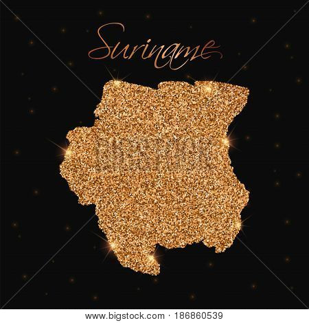 Suriname Map Filled With Golden Glitter. Luxurious Design Element, Vector Illustration.