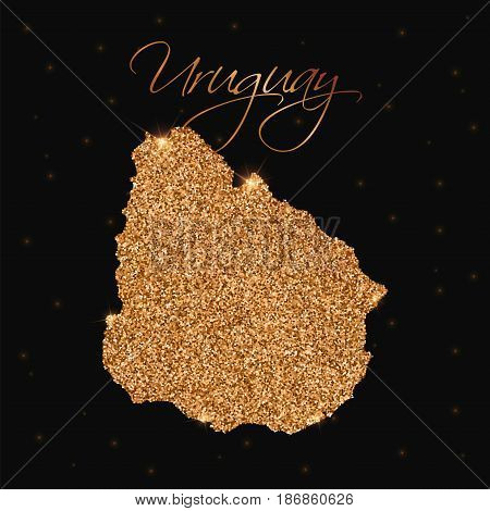 Uruguay Map Filled With Golden Glitter. Luxurious Design Element, Vector Illustration.