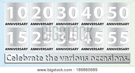 Vector set of anniversary icon symbols for 10,15,20,25,30,35,40,45,50,55 years jubilee design elements collection.