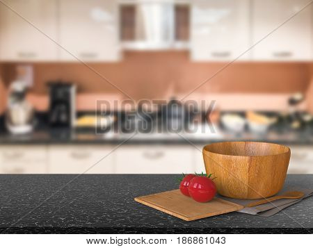 Granite Counter Top With Tomato And Wooden Bowl