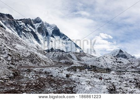 Everest Base Camp Trek/nepal - October 29, 2015: Mountain Village Under Lhotse Mountain Vertical Wal