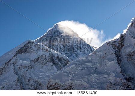 Mount Everest Peak (sagarmatha, Chomolungma) - The Top Of The World (8848 M). Sunrise Over The Summi