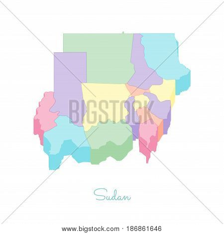 Sudan Region Map: Colorful Isometric Top View. Detailed Map Of Sudan Regions. Vector Illustration.
