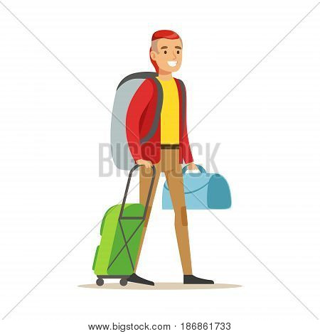 Smiling man traveler standing with backpack and suitcases. Colorful cartoon character vector Illustration isolated on a white background
