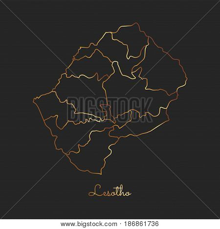 Lesotho Region Map: Golden Gradient Outline On Dark Background. Detailed Map Of Lesotho Regions. Vec