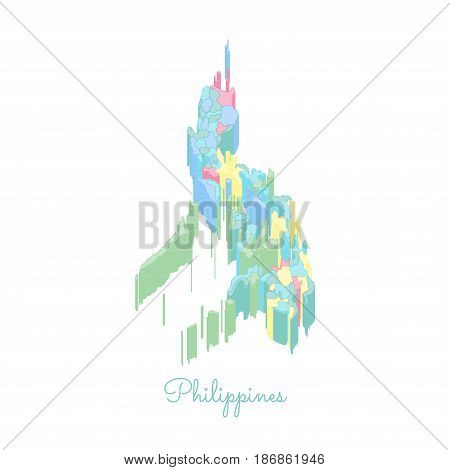 Philippines Region Map: Colorful Isometric Top View. Detailed Map Of Philippines Regions. Vector Ill