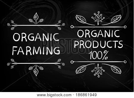 Organic farming. Organic products 100 . Hand drawn white typographic design elements on black background.