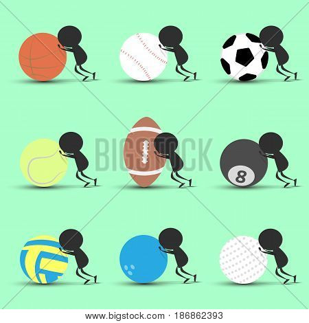 Black man character cartoon push sports ball forward with green background. Flat graphic. logo design. sports cartoon. sports balls .vector. illustration.