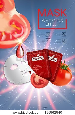 Tomato skin care mask ads. Vector Illustration with tomatoes mask and packaging. Vertical Poster.