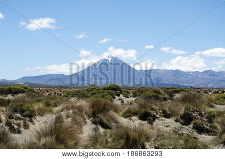 Mount Ngauruhoe in the background and Rangipo desert in the foreground (New Zealand)