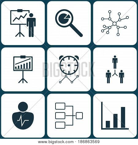Set Of 9 Board Icons. Includes Report Demonstration, Group Organization, Reminder And Other Symbols. Beautiful Design Elements.