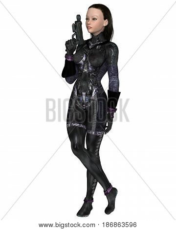 Science fiction illustration of a dark-haired female assassin in a black cat-suit, digital illustration (3d rendering)