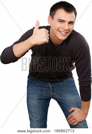 Man thumbs up approval happiness cheering male go ahead