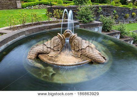 Dolphins trio sculpture water fountain in Renaissance Garden