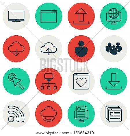 Set Of 16 World Wide Web Icons. Includes Website Bookmarks, Computer Network, Local Connection And Other Symbols. Beautiful Design Elements.