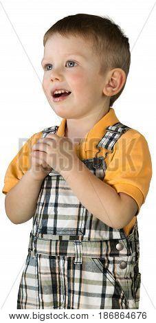Child boy male kid caucasian shy shocked
