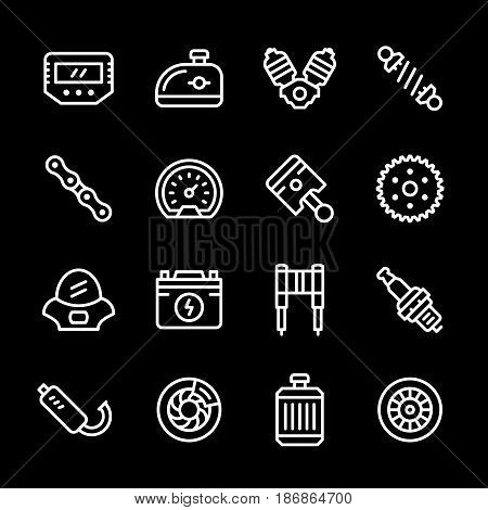 Set line icons of motorcycle parts isolated on black. Vector illustration