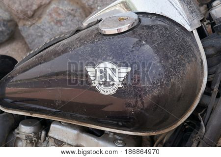 EILAT, ISRAEL - APRIL 30 - Eagle head ornament on front fender of motorcycle on April 30, 2017 in Eilat, Israel