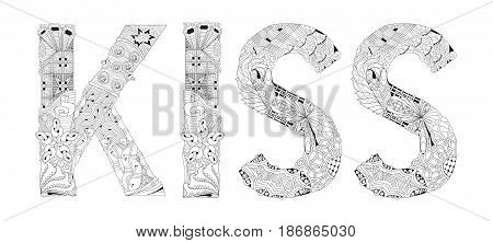 Hand-painted art design. Adult anti-stress coloring page. Black and white hand drawn illustration KISS mom for coloring book