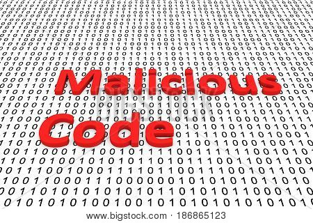 Malicious code in the form of binary code, 3D illustration