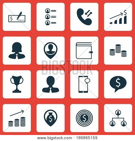 Set Of 16 Human Resources Icons. Includes Successful Investment, Job Applicants, Coins Growth And Other Symbols. Beautiful Design Elements.