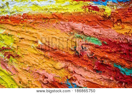 Thick dense layers of paint as abstract modern messy texture pattern surface colorful background closeup detail