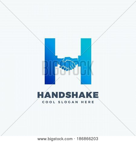 Handshake Abstract Vector Sign, Symbol or Logo Template. Hand Shake Incorporated in Letter H Concept. Isolated.