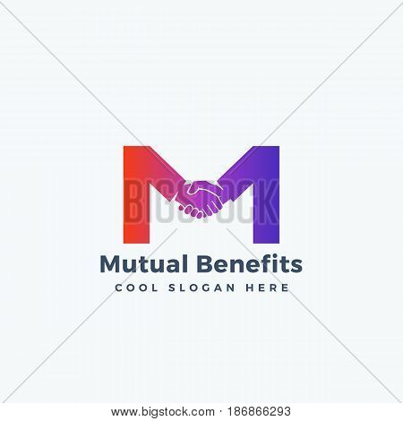 Mutual Benefit Abstract Vector Sign, Symbol or Logo Template. Hand Shake Incorporated in Letter M Concept. Isolated.