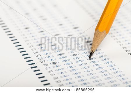 Pencil test exam examination entrance exam entrance test close up