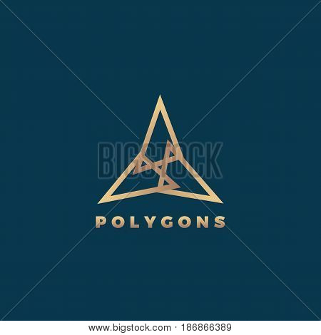 Polygons Abstract Geometry Minimal Vector Sign, Symbol or Logo Template. Premium Line Style Golden Emblem. Isolated on Dark Background.