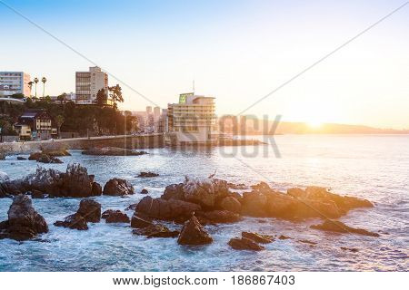 Evening View Of Valparaiso Bay, In Vina Del Mar, Chile