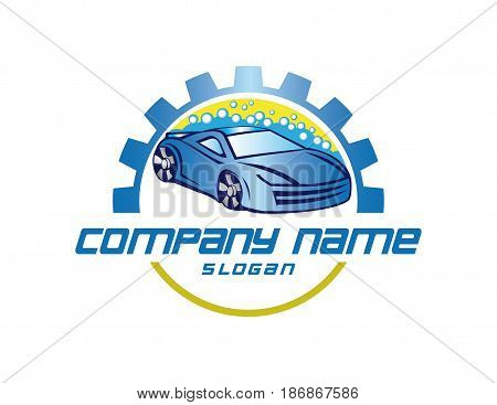 Carwash gear logo on a white background
