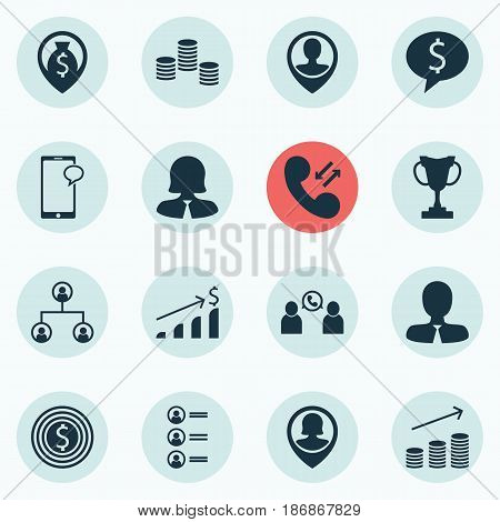 Set Of 16 Management Icons. Includes Money Navigation, Manager, Business Woman And Other Symbols. Beautiful Design Elements.