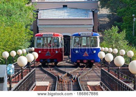 VLADIVOSTOK, RUSSIA - September 05, 2016: Funicular wagon in city Vladivostok