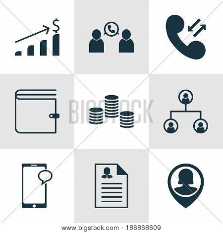 Set Of 9 Management Icons. Includes Phone Conference, Pin Employee, Successful Investment And Other Symbols. Beautiful Design Elements.