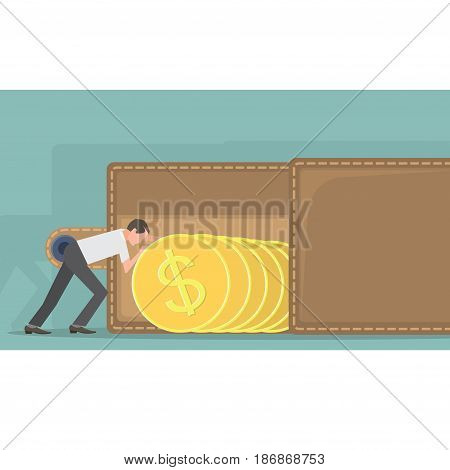Vector illustration depicting a man laying coins in a purse