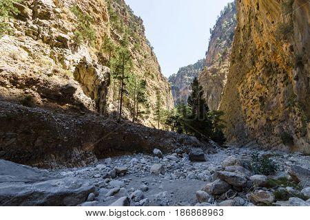 The Samaria Gorge. Island of Crete. Greece.