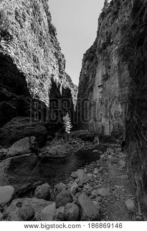 Samaria Gorge. The bed of a mountain river. Crete. Greece. Black and white.