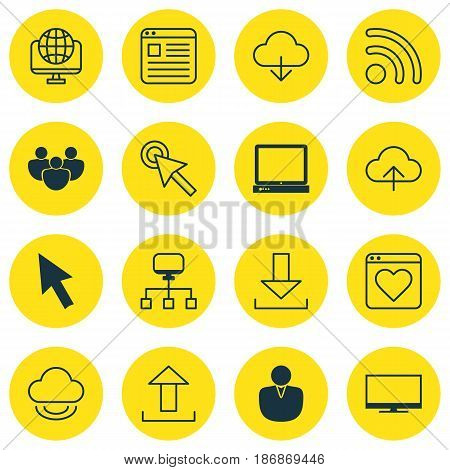 Set Of 16 Online Connection Icons. Includes Account, Followed Website, Mouse And Other Symbols. Beautiful Design Elements.