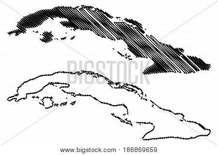 Cuba map vector illustration , scribble sketch Cuba