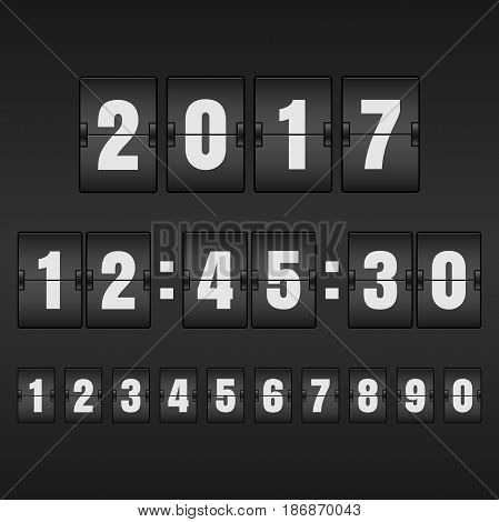 White countdown timer and mechanical scoreboard with different numbers. Vector illustration.